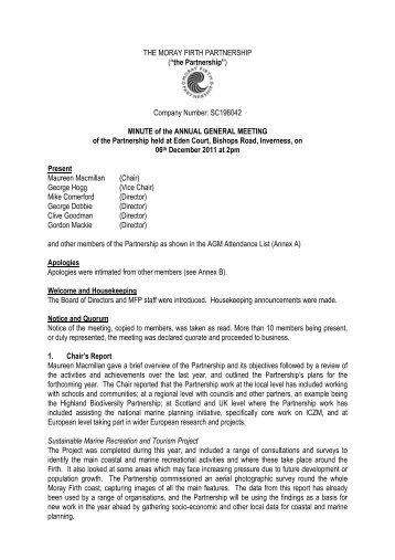 Minutes - Moray Firth Partnership