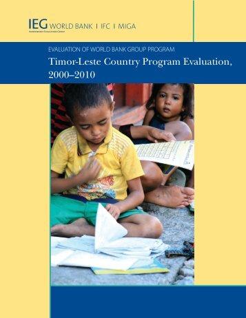 Timor-Leste Country Program Evaluation, 2000–2010