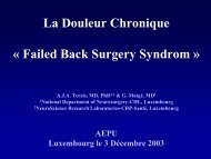La Douleur Chronique « Failed Back Surgery Syndrom » - Aepu.lu