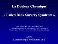 La Douleur Chronique « Failed Back Surgery Syndrom » - Aepu.lu