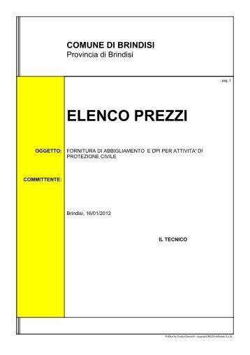 Elenco prezzi in formato .pdf - Comune di Brindisi