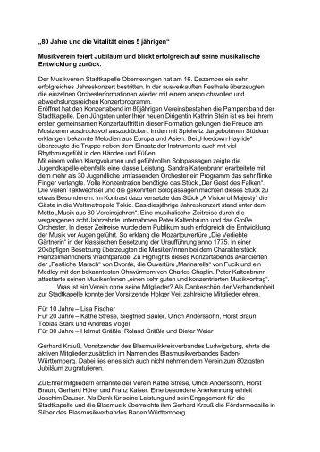 """""""80 Jahre und die Vitalität eines 5 jährigen"""" Musikverein feiert ..."""