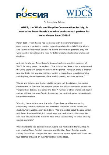Press Release announcing WDCS's and Team Russia's partnership