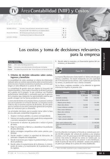 IV Los costos y toma de decisiones relevantes para la empresa