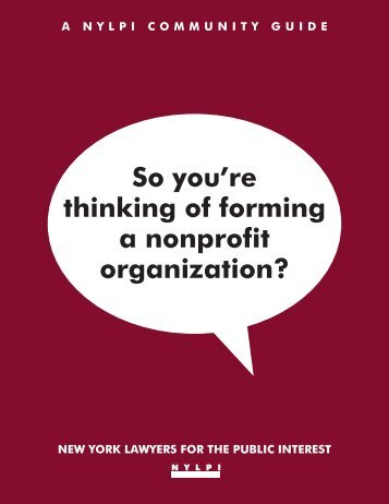 So you're thinking of forming a nonprofit organization? - New York ...