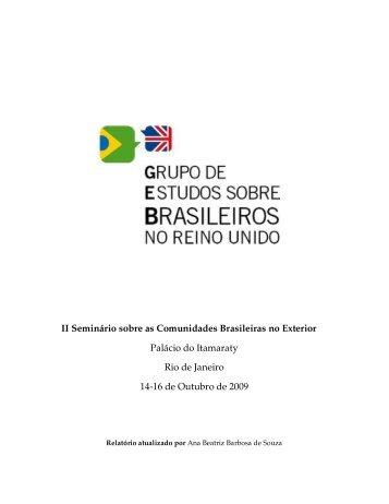 Relatório do Grupo de Estudos Brasileiros - Brasileiros no Mundo