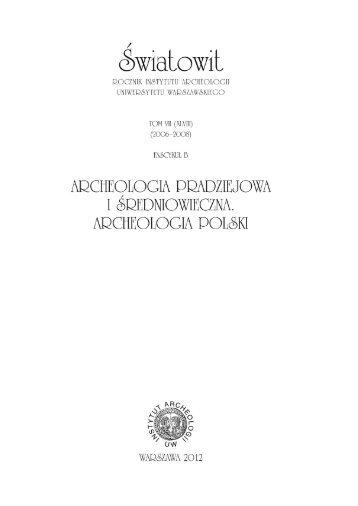 artykuł - Instytut Archeologii Uniwersytetu Warszawskiego