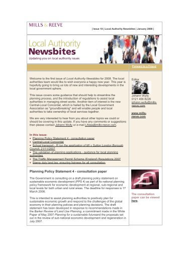 Local Authority Newsbites - January 2008 - Mills & Reeve