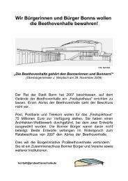 Wir Bürgerinnen und Bürger Bonns wollen die Beethovenhalle ...