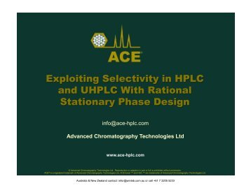 Exploiting Selectivity in HPLC and UHPLC With ... - Winlab.com.au