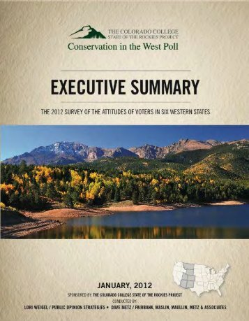 Conservation in the West Poll – A survey of - Colorado College