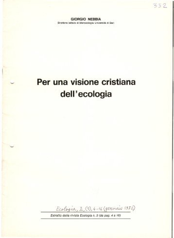 For a Christian View iof Ecology, Ecologia, 1972