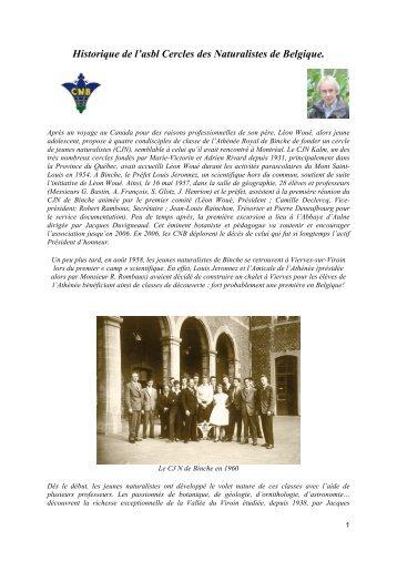 historique des CNB - Cercles des Naturalistes de Belgique