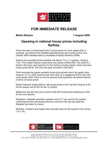 National Median Prices - June Quarter 2006 - Home Price Guide