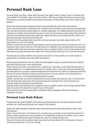 PERSONAL LOAN BANK RAKYAT, PERSONAL BANK ... - tyrofa