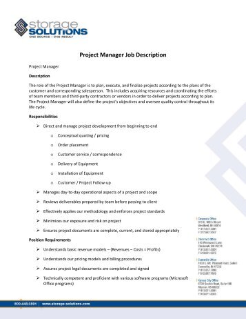 Project Manager Job Description   Storage Solutions
