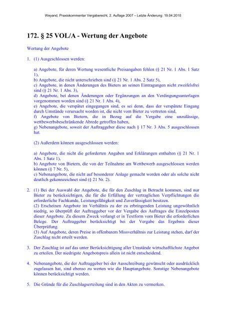 172. § 25 VOL/A - Wertung der Angebote - Oeffentliche Auftraege