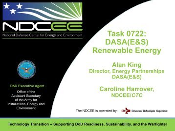 Task 0722: DASA(E&S) Renewable Energy - E2S2