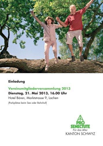 Einladung Vereinsmitgliederversammlung 2013 ... - Pro Senectute