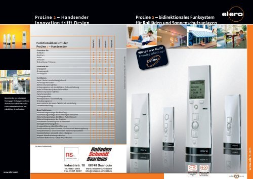ProLine 2 – Handsender Innovation trifft Design ... - Zu klicktel.de