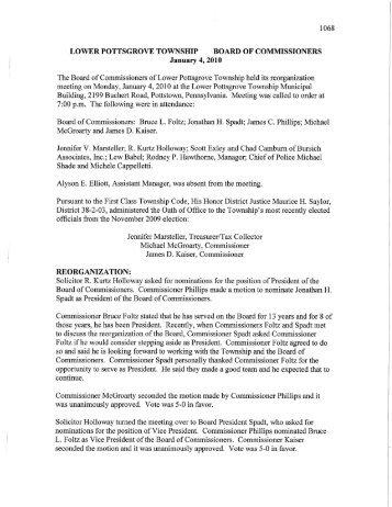 January 4, 2010 Minutes - Lower Pottsgrove Township