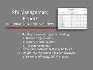PI's Management Report - Financial & Business Services