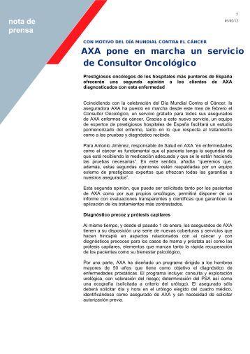 AXA pone en marcha un servicio de Consultor Oncológico