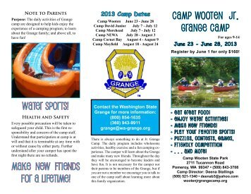 CAMP WOOTEN JR. GRANGE CAMP Make new friends for a ...