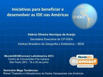 Iniciativas para beneficiar e desenvolver as IDE nas Américas