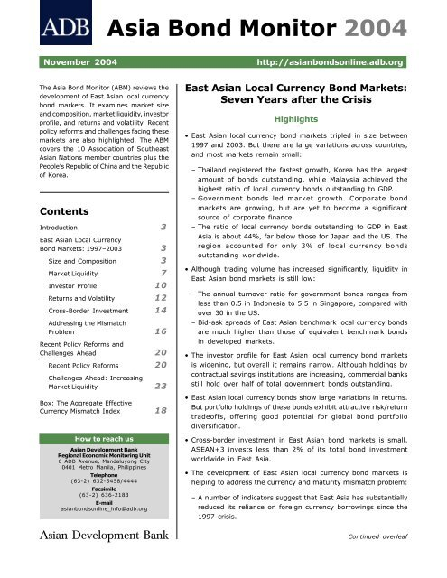 Asia Bond Monitor 2004 - AsianBondsOnline - Asian Development ...