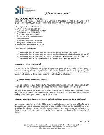 DECLARAR RENTA (F22) - Servicio de Impuestos Internos