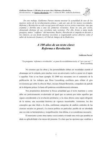A 100 años de un texto clave: Reforma o Revolución - Razón y ...