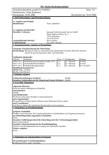 SDB Tania Spülmittel - Intergast