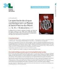 Le spectacle de cirque contemporain Le Repas à Saint-Pierre-du ...