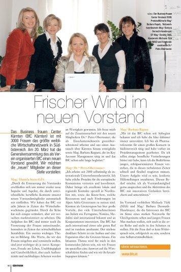 Frischer Wind im neuen Vorstand - Business frauen Center Kärnten