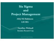 Six Sigma and Project Management - ASQ Baltimore 0502
