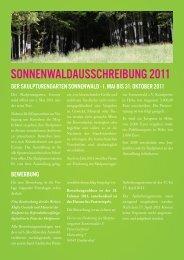 sonnenwaldausschreibung 2011 - Skulpturengarten Sonnenwald