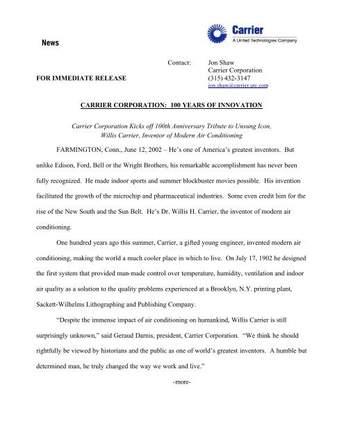 Contact: Jon Shaw Carrier Corporation FOR IMMEDIATE RELEASE