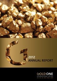 2012 ANNUAL REPORT - Gold One International Limited