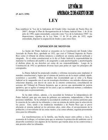 EXPOSICIÓN DE MOTIVOS - Rama Judicial de Puerto Rico