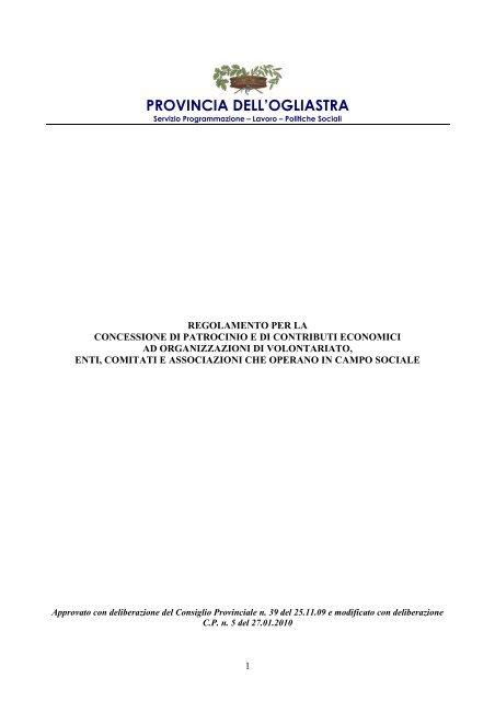 Regolamento concessione patrocinio e contributi Associazioni di ...