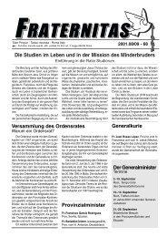 Die Studien im Leben und in der Mission des Minderbruders - OFM