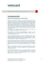 Q1/ 3-Monatsbericht 2010 Wirecard AG: Erfolgreiches 1. Quartal 2010