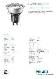 Hersteller Datenblatt Philips Master LED Spot GU10 4W ... - LEDS.de
