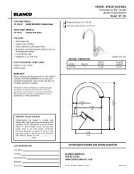 Specification and Measurements for Blanco Neo Rados Bar Faucet ...