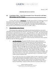 Cash Balance Plans - Groom Law Group