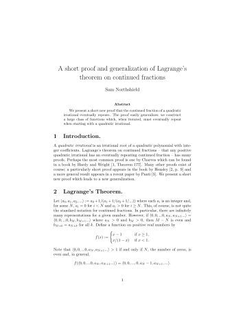 A short proof and generalization of Lagrange's theorem on ...