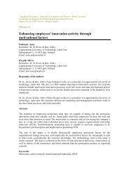 Enhancing employees' innovation activity through motivational factors