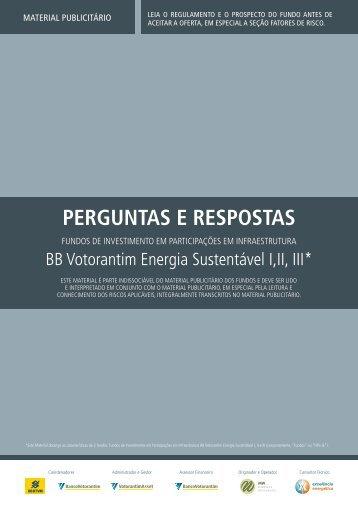 PERGUNTAS E RESPOSTAS - Banco Votorantim