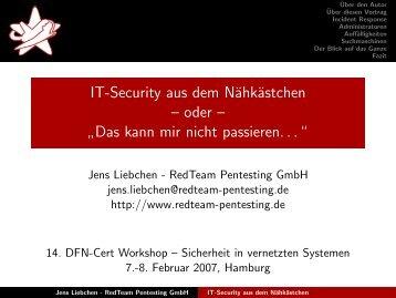 IT-Security aus dem Nähkästchen - RedTeam Pentesting GmbH